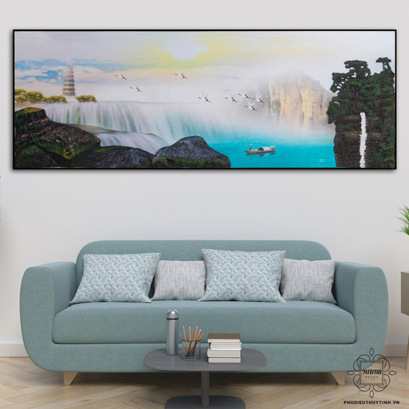 Hình ảnh chim hạc và thác nước làm nên bức tranh bồng lai tuyệt đẹp