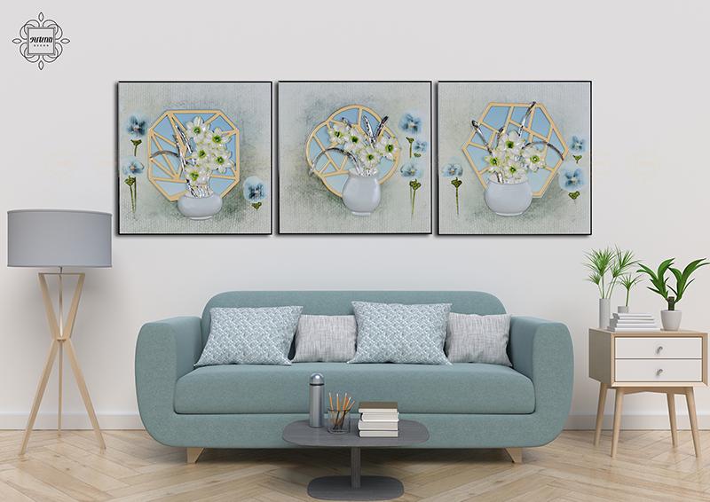 Bộ tranh phù điêu thủy tinh với kích thước hợp lý giúp cho căn nhà bạn trở nên sang trọng hơn