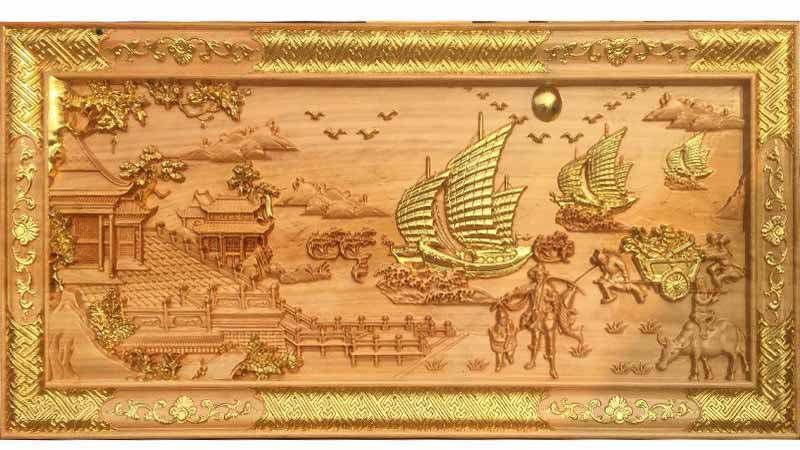 Tranh phù điêu gỗ giúp không gian mang hơi hướng thiên nhiên