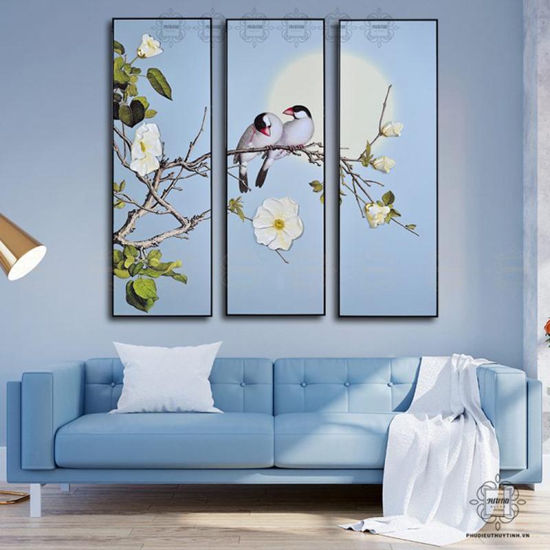 Tranh phù điêu thủy tinh hình đôi chim uyên ương phù hợp với phòng khách lãng mạn