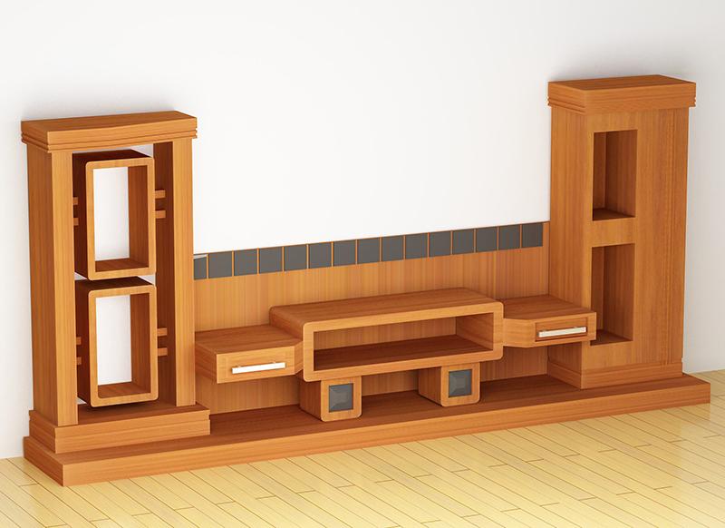 Bạn có thể trang trí phòng khách bằng kệ tivi gỗ…