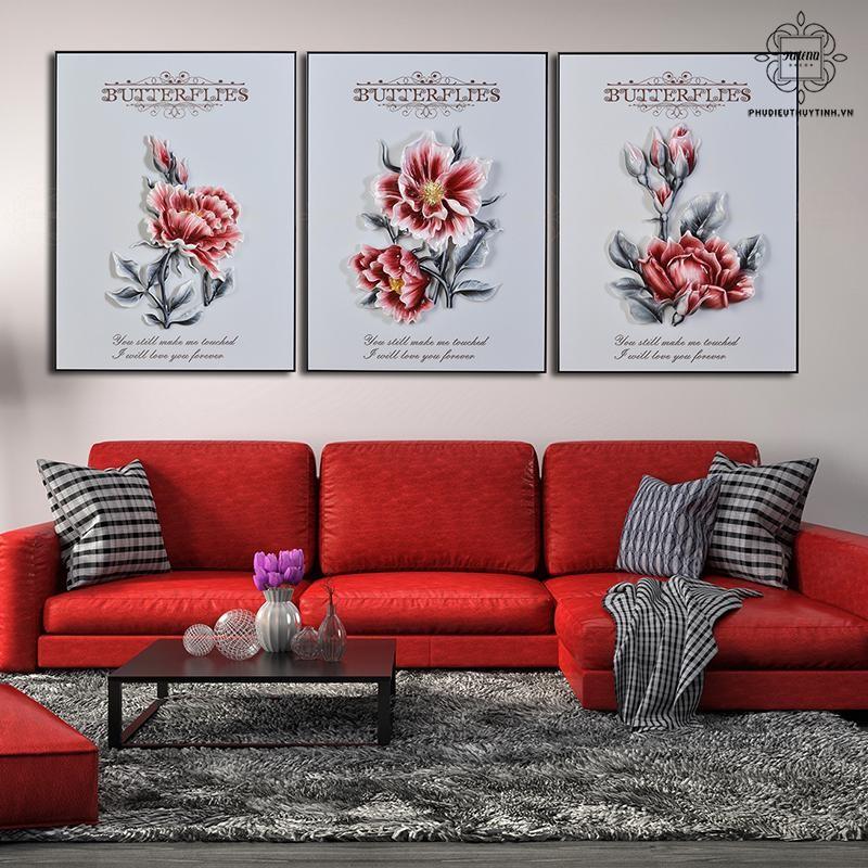 Bừng sáng không gian phòng khách với những bức tranh hoa