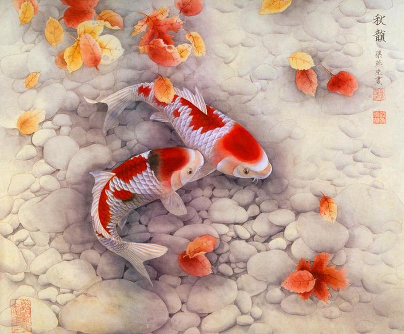 Nhà hướng Nam nên treo tranh có 2 con cá đỏ để đem đến may mắn, cát tường
