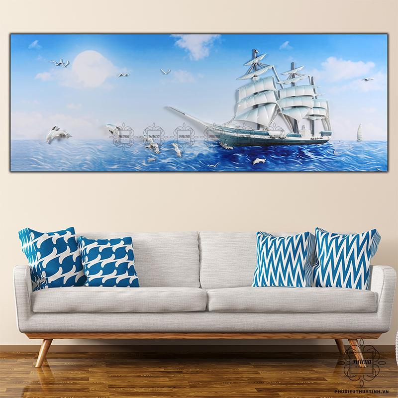 Những loại tranh sông nước, thuyền buồm phù hợp với người mệnh Kim