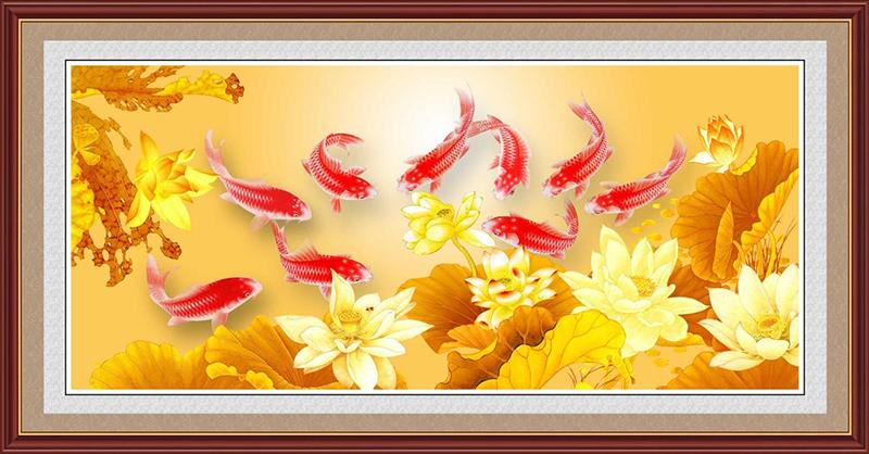 Sự sung túc của cá chép trong Lý Ngư Tát Tử đại diện cho lời chúc con đàn cháu đống