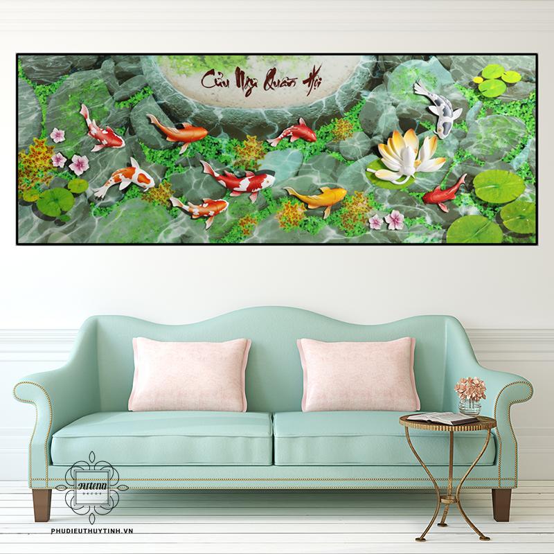 Tranh cá chép hoa sen là sự kết hợp hoàn hảo giữa hình tượng cá chép dũng mãnh và hoa sen giản dị, đằm thắm