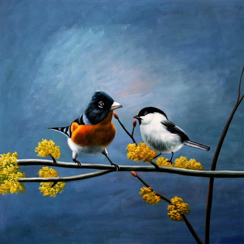 Tranh cặp đôi chim uyên ương tạo một loại khí rất thuận lợi giúp đôi lứa thêm gắn bó