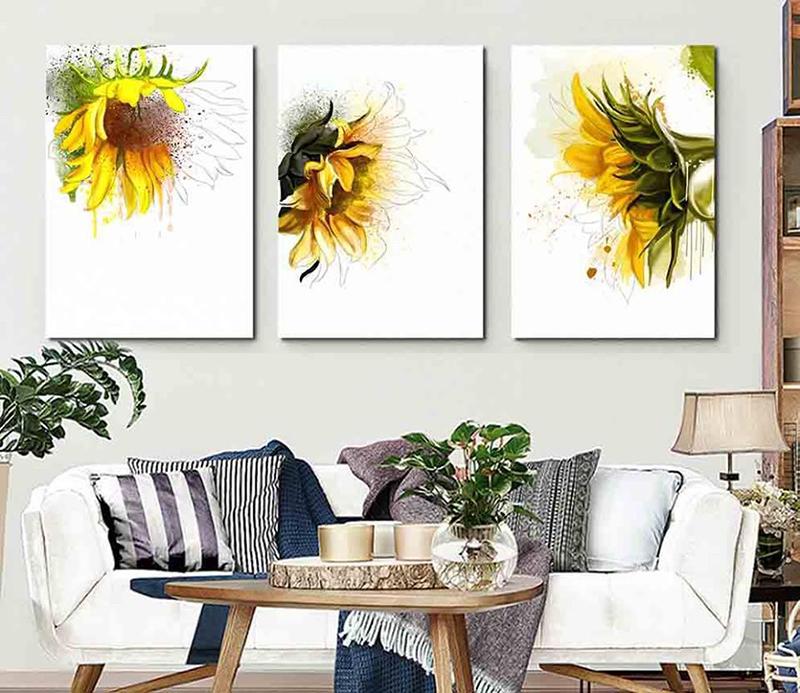Tranh hoa hướng dương có màu sắc rực rỡ, giúp tạo năng lượng tích cực cho ngôi nhà