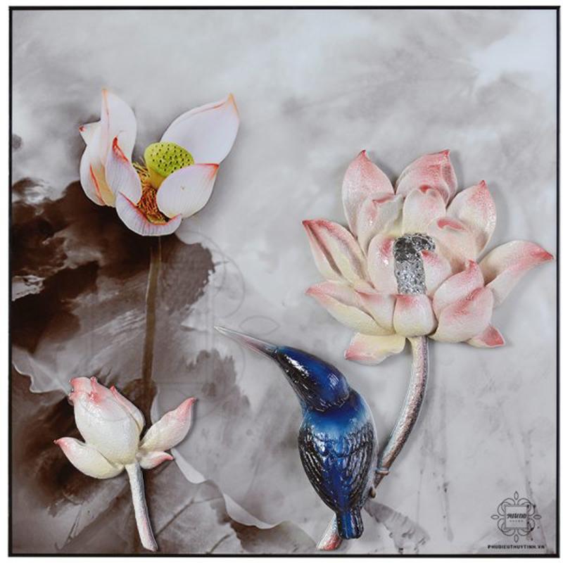 """Tranh phù điêu hoa sen """"Hà Hoa"""" – vẻ đẹp của sự tinh khiết"""