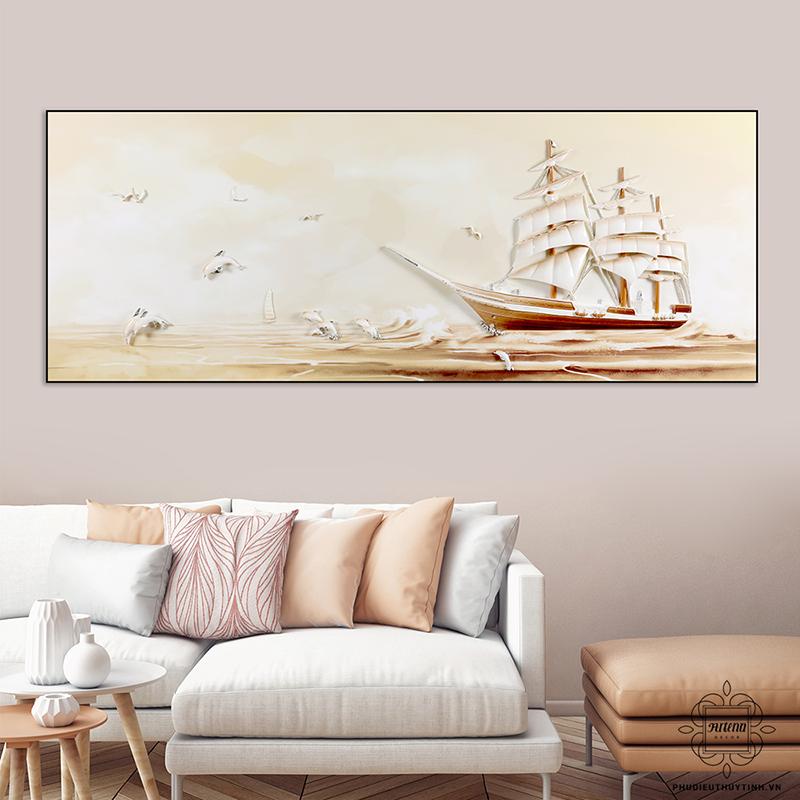 """Một sản phẩm tranh """"Thuận buồm xuôi gió"""" được Artena Decor sử dụng tông màu nâu - cam"""