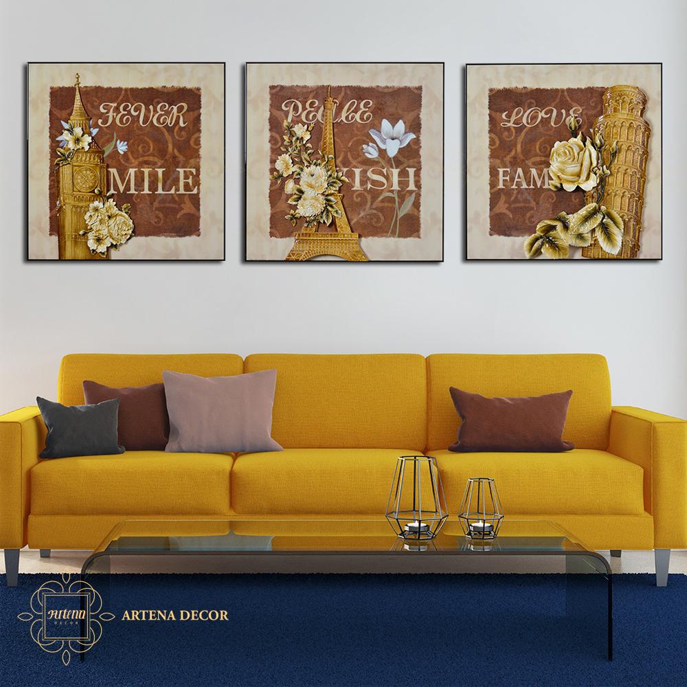 Tạo điểm nhấn cho căn phòng bằng những bức tranh có màu cam, vàng canary,...