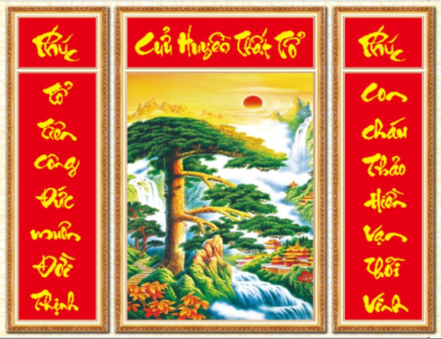 Cửu huyền thất tổ cũng là một mẫu tranh được chọn để treo trong phòng thờ - Nguồn: theutay.vn
