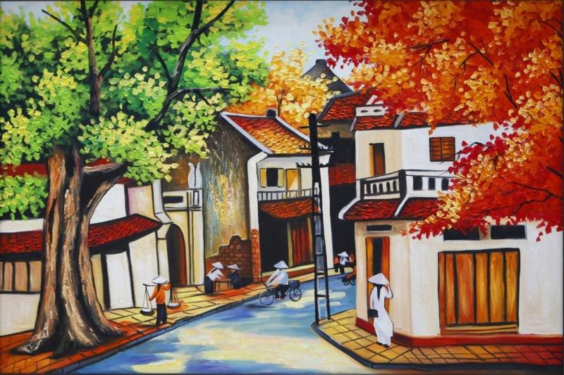 Nét đẹp cổ kính trong những bức tranh phố cổ Hà Nội - Nguồn: shoptranh.vn