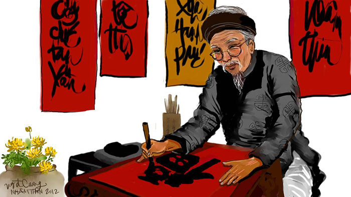 Ông đồ, mực Tàu và giấy đỏ gắn liền với văn hóa Việt Nam - Nguồn: vaigiay.com