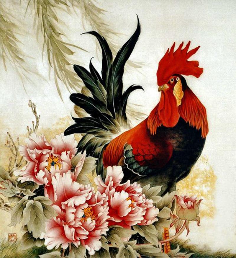 Tranh con gà - bức tranh bản mệnh mang lại may mắn cho người tuổi Dậu