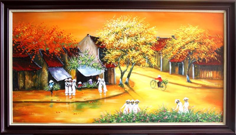 Tranh mùa thu Hà Nội thật tinh tế và lãng mạn - Nguồn: Tranh phong cảnh đẹp