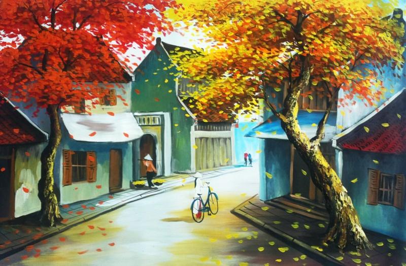 Tranh phố cổ Hà Nội - Đẹp cuốn hút trong từng chi tiết - Nguồn: shoptranh.vn
