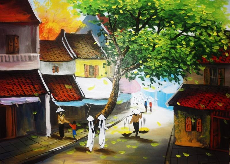 Tranh phố cổ Hà Nội với hình ảnh áo dài thướt tha - Nguồn: shoptranh.vn