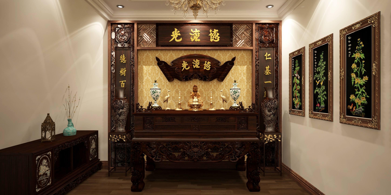 Tranh treo phòng thờ đặc biệt cần theo phong thủy - Nguồn: Kiến Trúc Việt 360