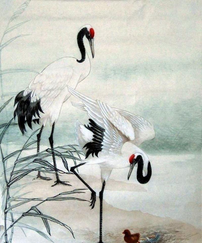 Chim Hạc đại diện cho vẻ đẹp cao quý, thuần khiết, trường thọ