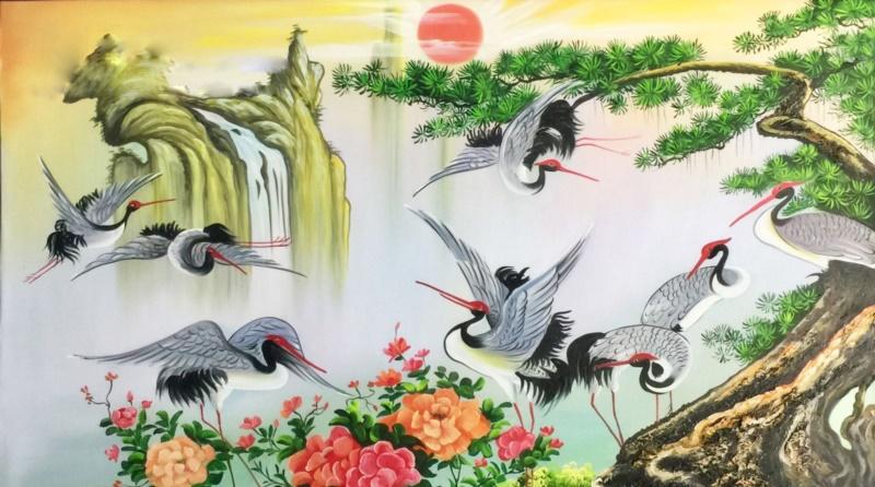Chim hạc mang ý nghĩa của sự trường thọ - Nguồn: shoptranh.vn