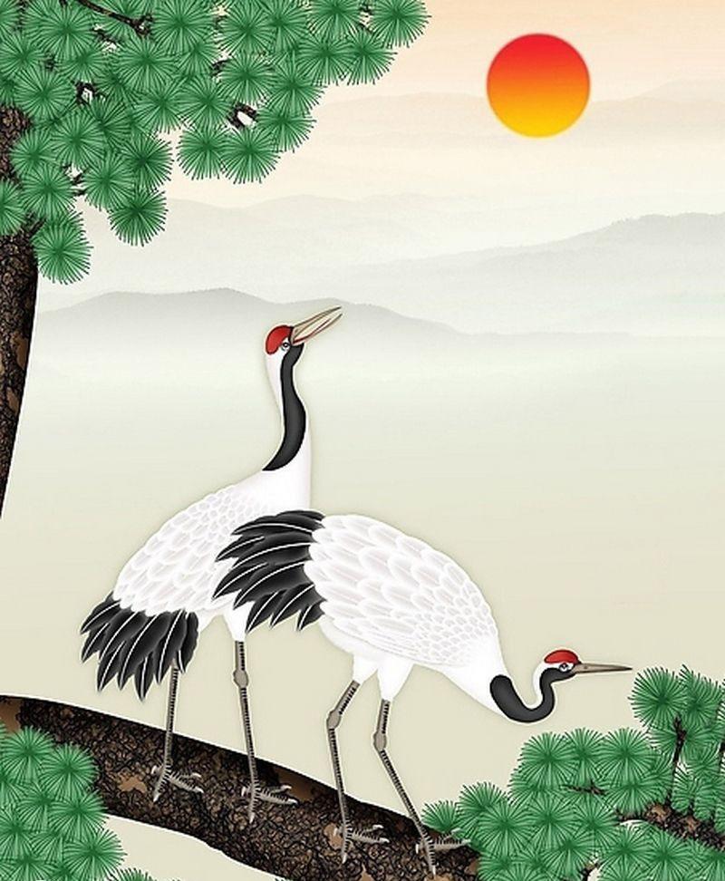 Đầu màu đỏ của chim Hạc bổ sung dương khí, thể hiện sức sống dẻo dai, bền bỉ