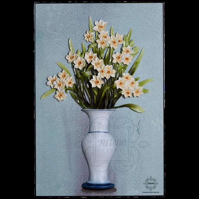 Tranh phù điêu hoa thủy tiên, hoa ngọc lan đặc sắc chỉ có tại Artena Decor