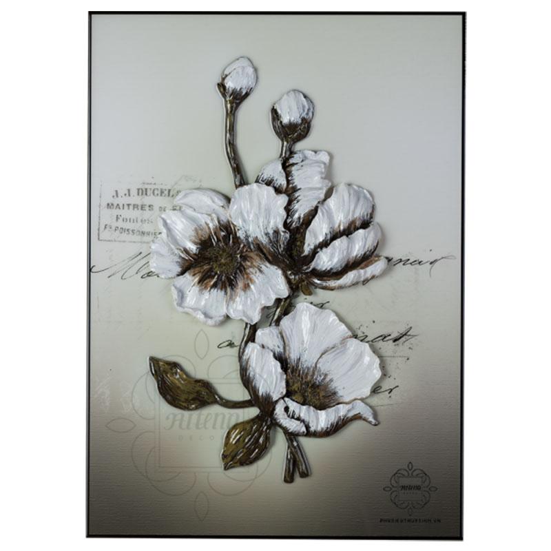 tranh phù điêu hoa mẫu đơn tại artena decor
