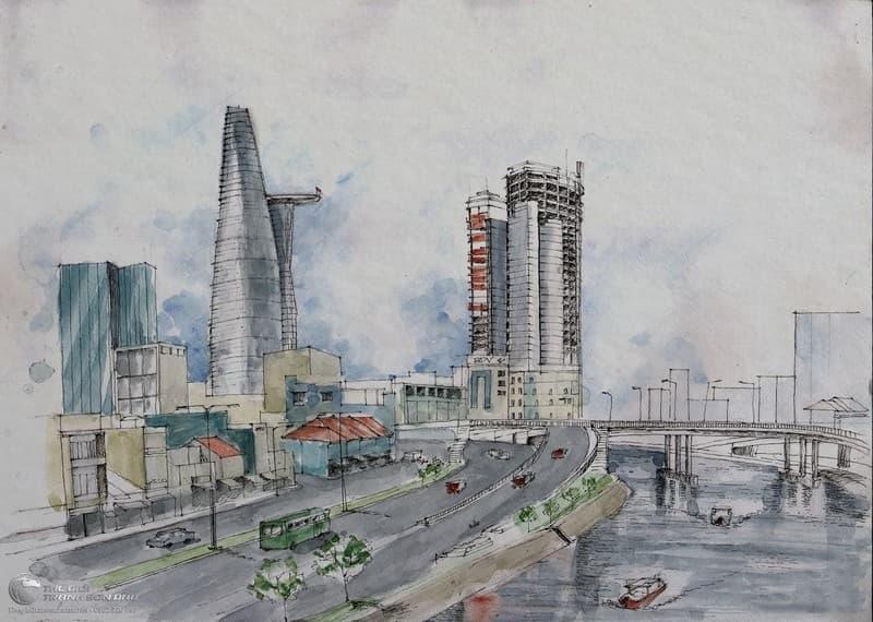 Những tòa nhà cao tầng được khắc họa đầy kiêu hãnh trong tranh hiện đại