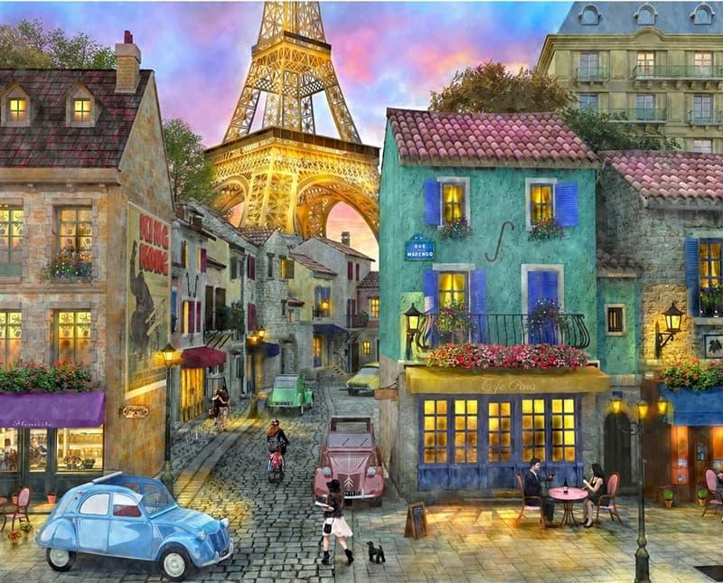 Tranh hiện đại nhà phố Châu Âu với vẻ đẹp đầy cổ kính