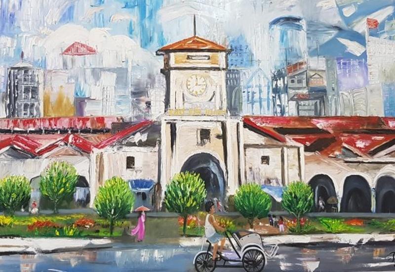 Tranh hiện đại nhà phố Sài Gòn vô cùng thích hợp với khách hàng trót yêu chốn đô thị tấp nập này