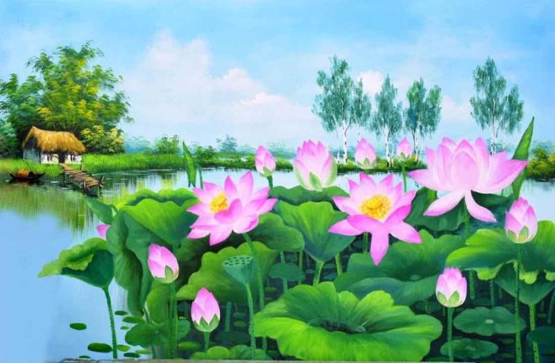 Tranh hoa sen giúp gia chủ có cuộc sống vô tư