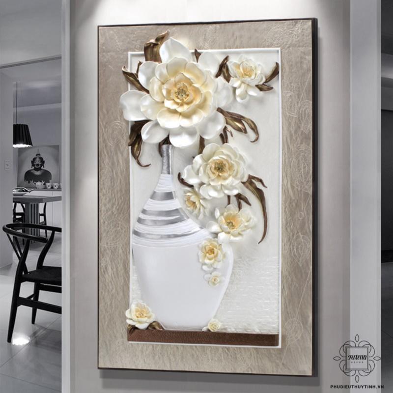 Tranh phù điêu hoa mẫu đơn được nhiều người yêu thích