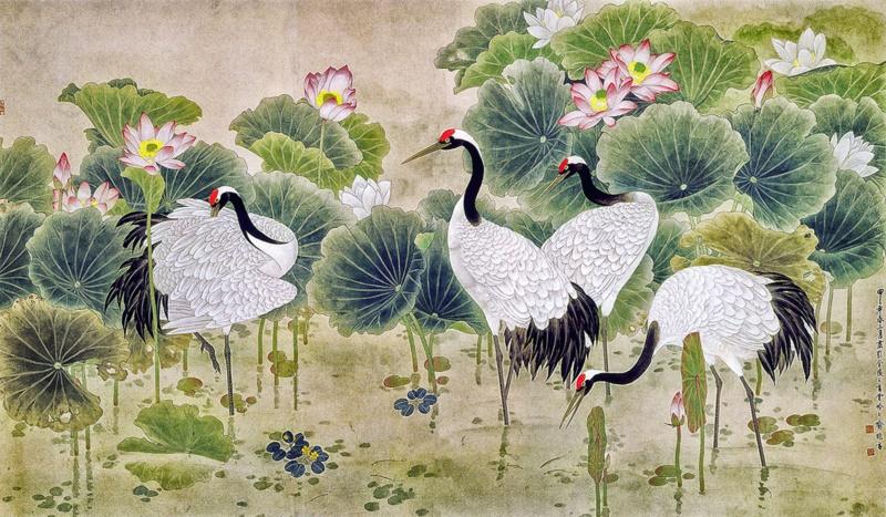Tranh Sen Hạc có thể hợp với nhiều cung mệnh khác nhau - Nguồn: banhinhgoc.com