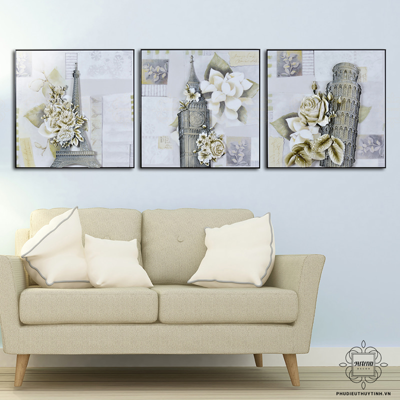 Màu trắng là màu đặc trưng cho tranh treo tường phong cách vintage