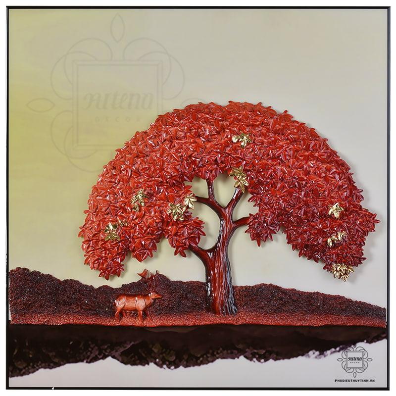 tranh treo tường sắc đỏ của cây tùng phù hợp với người mệnh Hỏa