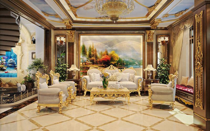 Tranh treo tường phòng khách theo phong cách tân cổ điển sang trọng, lịch lãm