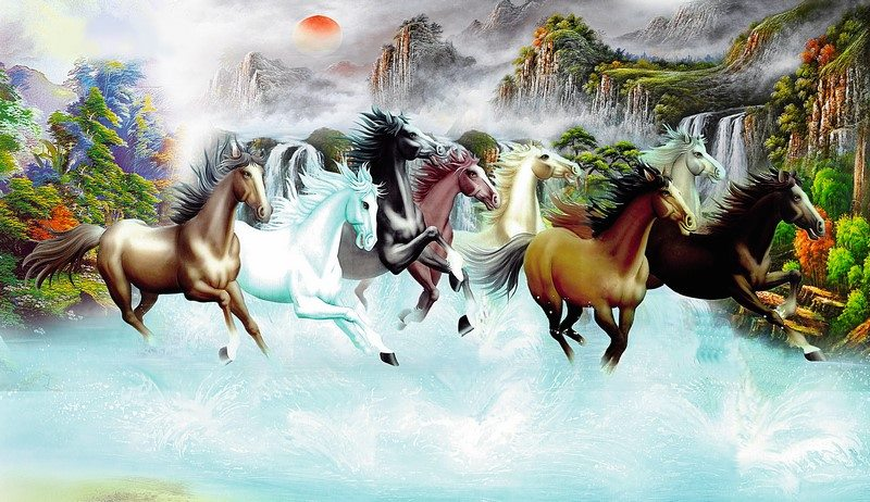 Tranh về ngựa rất hợp với người tuổi Thìn