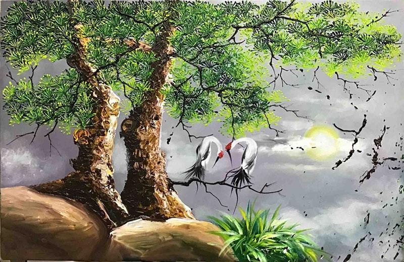 Vẻ đẹp mềm mại của loài chim hạc được kết hợp hoàn hảo với sự mạnh mẽ, cô độc của cây Tùng trong Tùng Hạc Diên Niên