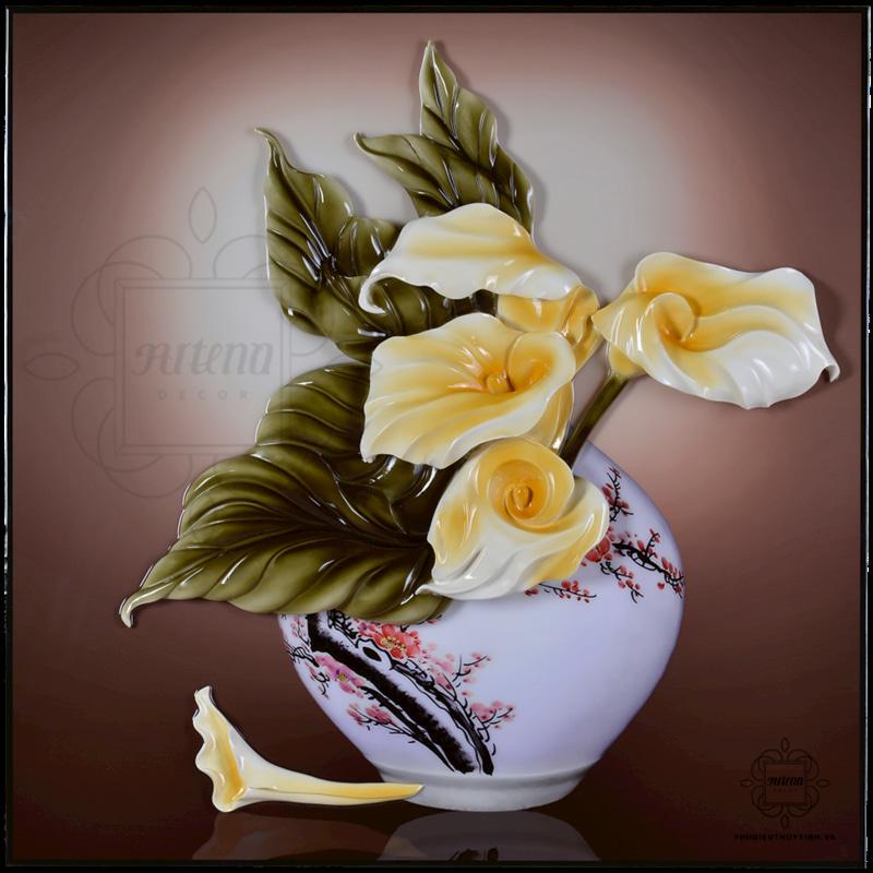 chọn mẫu tranh phù điêu hoa rum có màu sắc, phong cách vẽ phù hợp