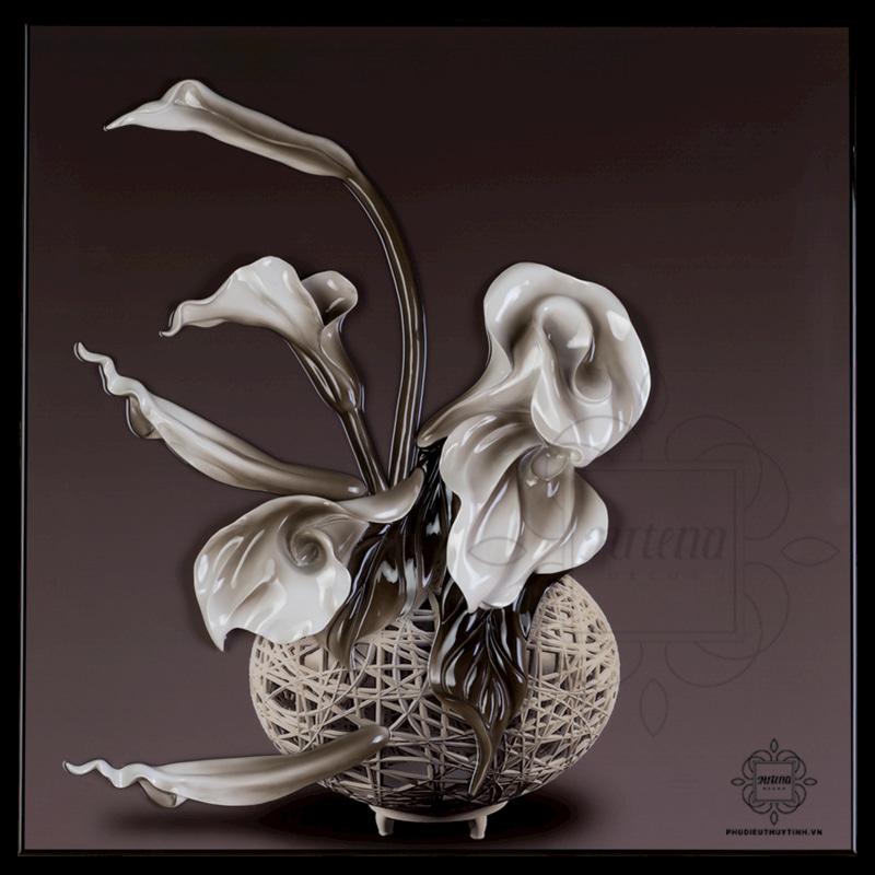 LGFD022 - tranh phù điêu hoa rum sở hữu vẻ đẹp huyền bí