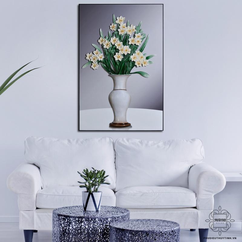 tranh phù điêu treo tường phòng khách