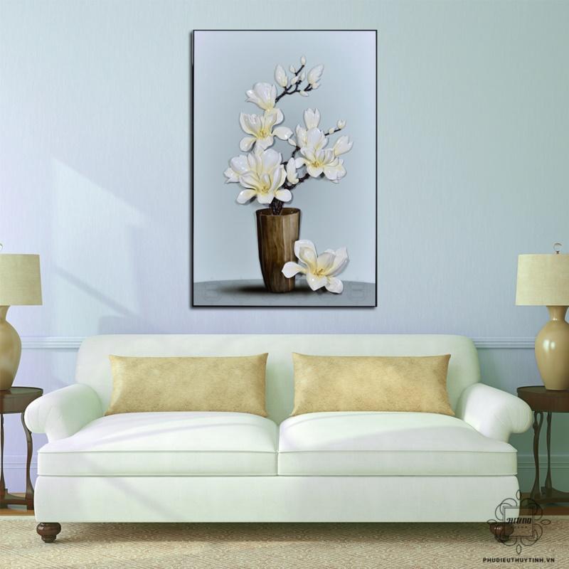 tranh phù điêu treo tường phòng khách hoa mộc lan