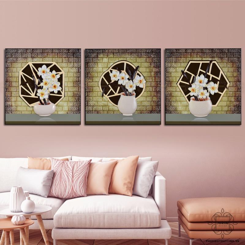 tranh phù điêu treo tường phòng khách hoa thủy tiên
