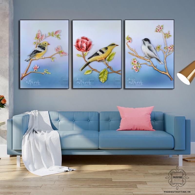 tranh phù điêu treo tường phòng khách hỷ tước hân hoan
