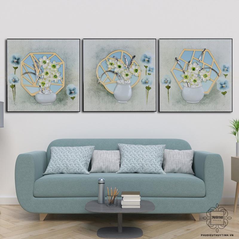 tranh phù điêu treo tường phòng khách nàng tiên nước