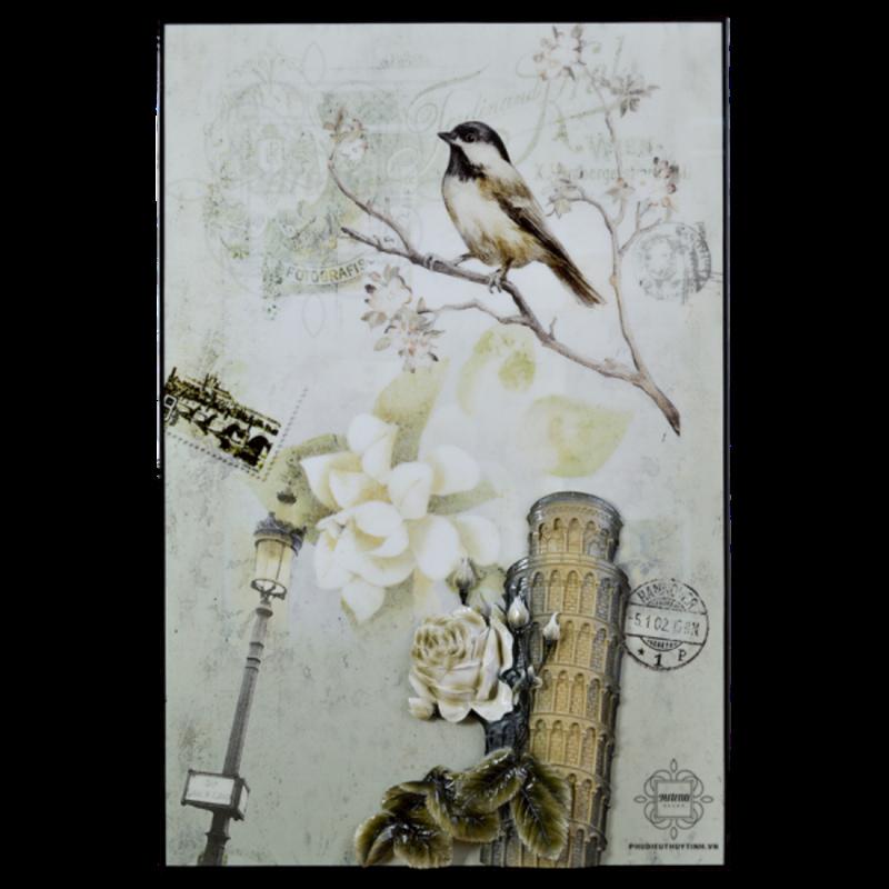 tranh treo tường chim hỷ tước phong cách châu âu trang nhã