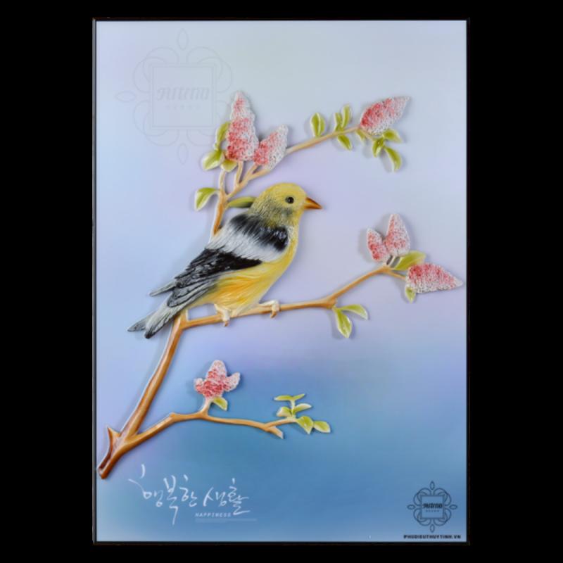 """Hình ảnh những chú chim hỷ tước tinh nghịch đang đậu trên cành cây trong bức """"Hỷ tước hân hoan"""""""