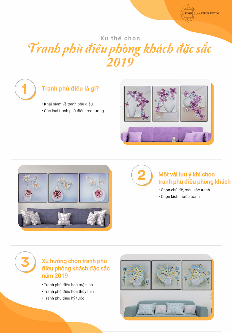 xu hướng tranh phù điêu treo tường phòng khách 2019