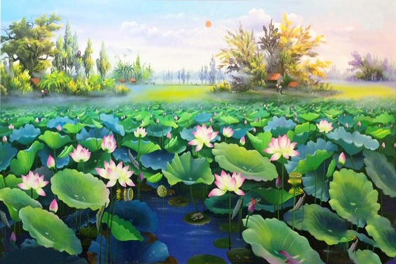 Các bức tranh lấy hoa sen làm chủ đạo rất được nhiều người yêu thích.